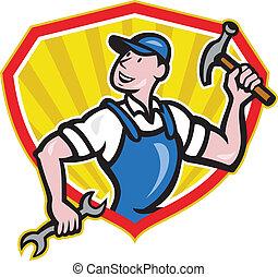 clé, constructeur, marteau, charpentier, dessin animé