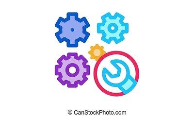 clé, engrenages, montre, icône, animation