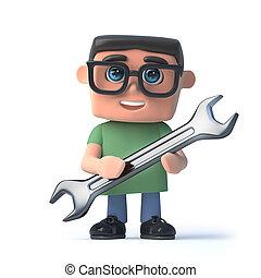 clé, garçon, lunettes, tenue, 3d