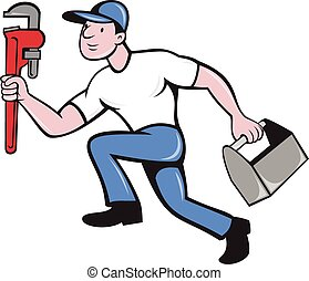 clé, isolé, boîte outils, plombier, réglable, courant