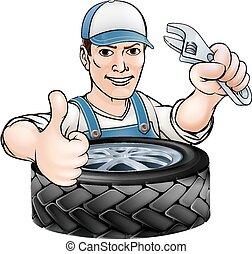 clé, mécanicien, pneu
