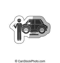 clé, voiture, autocollant, silhouette, mécanicien