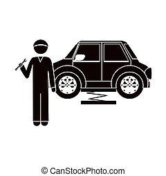 clé, voiture, silhouette, mécanicien, noir