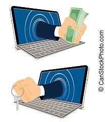 clés, argent, ordinateur portable, main