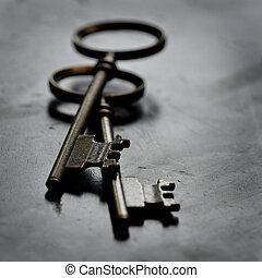 clés, bois, vieux, porté