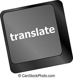 clés, bouton, traduire, clavier