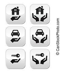 clés, boutons, maison, voiture, mains