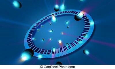 clés, cercle, piano