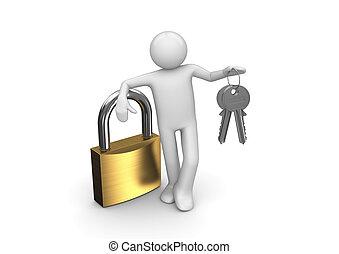 clés, deux, serrure, homme
