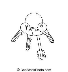 clés, drawing., ligne, tas
