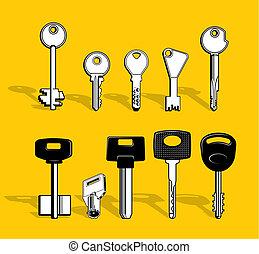 clés, ensemble, vecteur