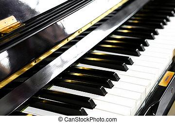 clés, fin, piano, haut