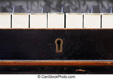 clés, fin, piano, vieux, haut