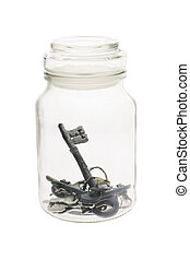 clés, intérieur, pot verre