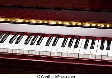 clés, ivoire, piano, ébène, rouges