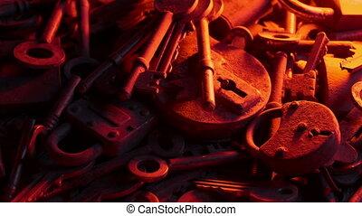 clés, lueur bougie, lueur, serrures