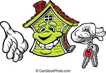 clés, maison, amical, vecteur, tenue, dessin animé, heureux