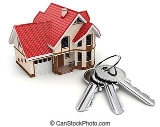 clés, maison, blanc, isolé, arrière-plan.