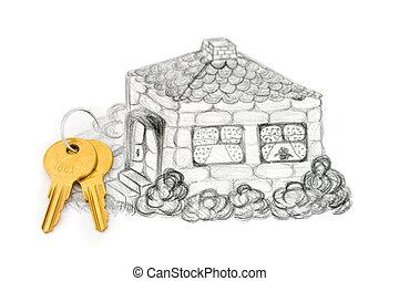 clés, maison, dessin