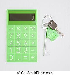 clés, maison, gros plan, calculatrice, table