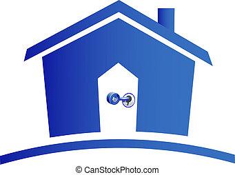 clés, maison, logo