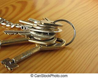 clés, maison, porté, table bois, tas