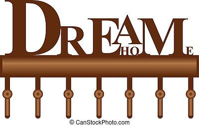 clés, maison, rêve, étagère