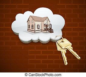 clés, maison, rêve, nuage