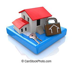 clés, maison, serrure
