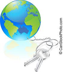 clés, mondiale, concept