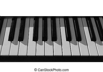 clés, monochrome, gros plan, piano