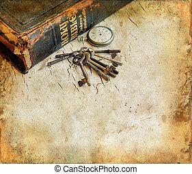 clés, montre, bible, grunge, fond