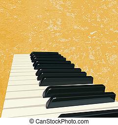 clés, musique, piano, grunge, fond