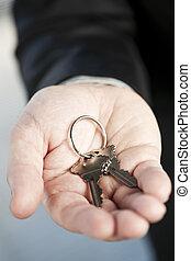 clés, nouveau, offrande, main