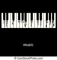 clés, piano, écoulement