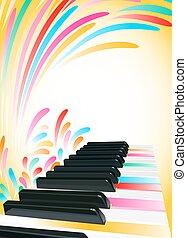 clés, piano, fond, multicolore