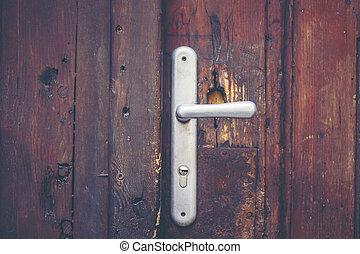 clés, porte, vieux, salle