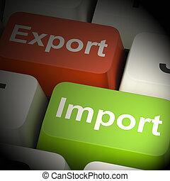 clés, projection, commercer, rendre, exportation, importation, 3d