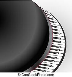 clés, résumé, fond, grandiose, blanc, piano, vue