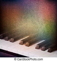 clés, résumé, grunge, piano, fond