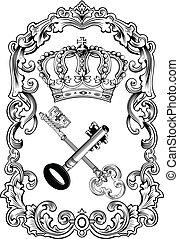 clés, royal, cadre, couronne