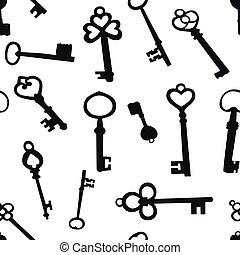 clés, seamless, fond