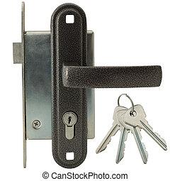 clés, serrure, poignée de porte