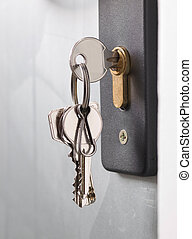 clés, serrure, porte