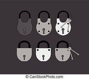 clés, serrures, vecteur, divers