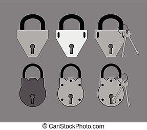 clés, serrures, vecteur