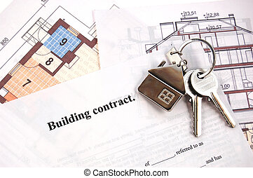 clés, sur, bâtiment, contrat