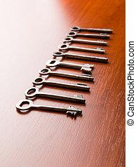 clés,  table, ensemble