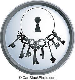 clés, vecteur, tas
