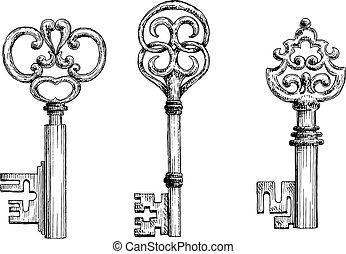 clés, vendange, croquis, ensemble, moyen-âge
